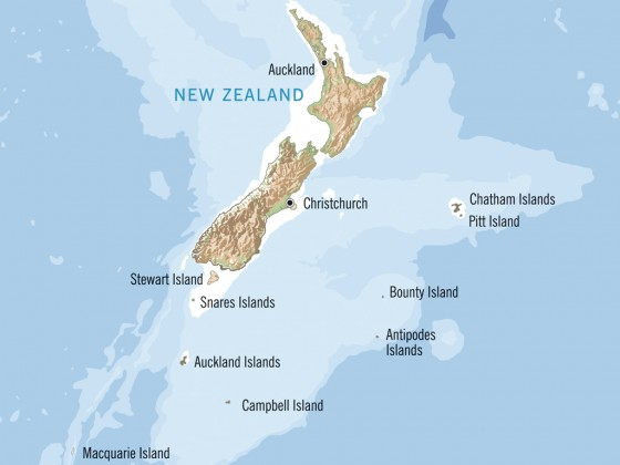 Campbell Island in relation to mainland NZ